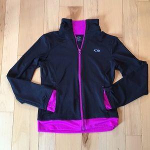 Champion Girls Track Jacket - Black/Violet - Large